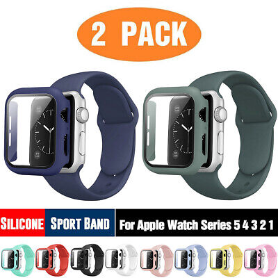 AU12.99 • Buy 2Pack Silicone Watch Band Strap Case For Apple Watch SE 6 5 4 3 21 40 38 42 44mm