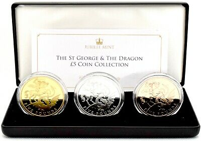£90.95 • Buy 2020 St George And The Dragon Solid Silver Proof 3 Coin £5 Collection COA