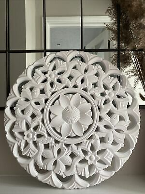 £27.50 • Buy White Wood Round Ornate Wall Art Panel - Carved