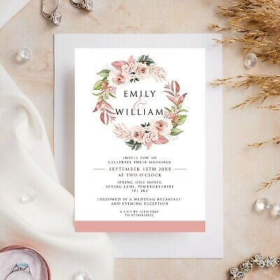 £6.99 • Buy 10 Wedding Invitations Day/Evening Rose Gold Floral Wreath