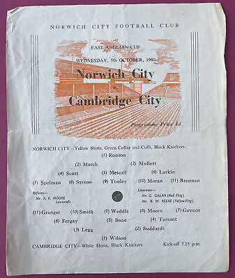 £90 • Buy Norwich City V Cambridge City. EAST ANGLIAN CUP. Wednesday, 5th October 1960