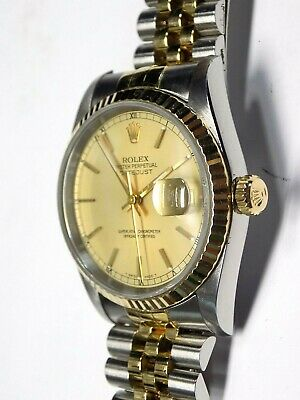 $ CDN5823.12 • Buy Rolex Mens Datejust Two Tone Quick Date 16233 Champagne Dial 36mm Fluted Bezel