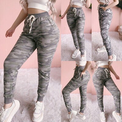 £13.09 • Buy Women Camouflage Joggers Bottoms Jogging Gym Fitness Sports Cargo Pants Trousers
