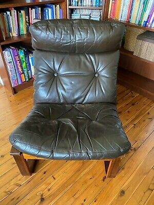 AU250 • Buy 1970s Model T8 Tessa Fred Lowen Retro Mid Century Brown Leather Side Chair