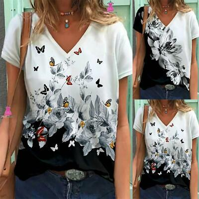 £9.89 • Buy Womens Floral V Neck Short Sleeve T-shirt Ladies Loose Blouse Summer Tee Tops