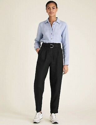 £12.99 • Buy M&S Black Linen Tapered Trousers UK 8/18 RRP £29.50