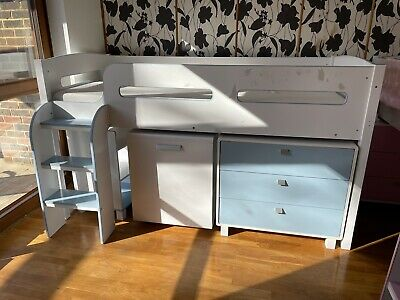 £49.99 • Buy Julian Bowen Kimbo Cabin Bunk Mid Sleeper Bed Blue Storage Desk Drawers