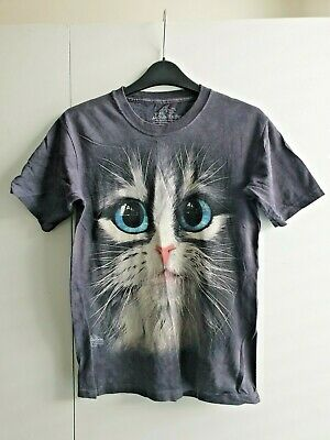 £9.99 • Buy Giant Big Cat Face T-shirt Grey Large Size Blue Eyes New Womens The Mountain