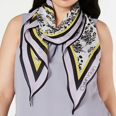 Calvin Klein Floral Bouquet Chiffon Diamond Kite Scarf Purple NEW • 7.15£