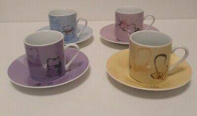 £20 • Buy Set Of 4 Demitasse/Espresso Coffee Cups And Saucers Handbag Design In Box New