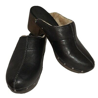 £38.94 • Buy Women's Ugg Kassi Black Leather Clogs Shearling Lined Size 10M