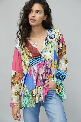 $ CDN55.79 • Buy NWT Anthropologie Conditions Apply Risa Floral Print Peasant Tunic Blouse SZ XL