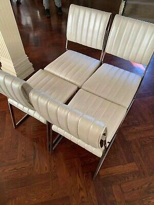 AU40 • Buy Second Hand White Leather Dining Chairs