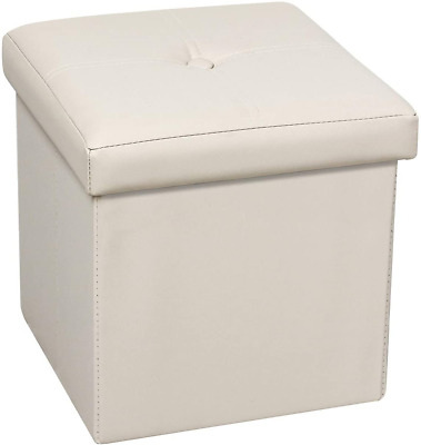 Bonlife Storage Ottoman Boxes Faux Leather Folding Cube Foot Stool Toy Box Chest • 17.75£