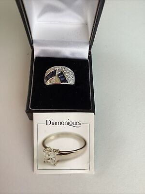 $ CDN27.36 • Buy 925 Sterling Silver Womens Large Blue Diamonique Wide Band Ring - Qvc - Size P