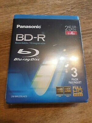 £11 • Buy 3 Discs Pack Panasonic BD-R 25GB 4h Blu Ray Recordable Writeable  Jewel Cases
