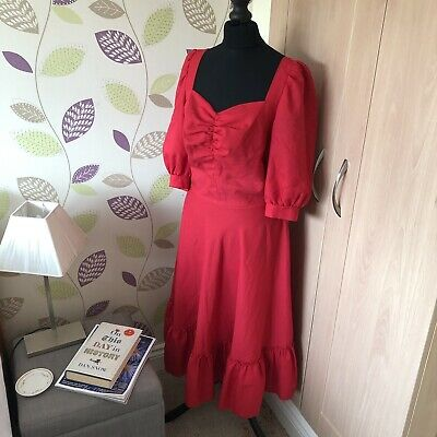 Gorgeous Vintage 80s Does 50s Glamorous Red Princess Dress Power Dressing 10 12 • 8.50£