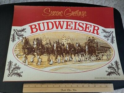 $ CDN30.22 • Buy Vintage 1977 Budweiser Clydesdale Seasons Greetings Bar Easel Display