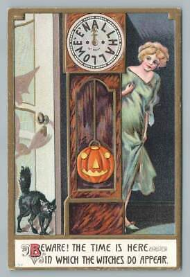 $ CDN60.45 • Buy  Beware! Witches Appear  HALLOWEEN CLOCK Black Cat 837 Jack O Lantern 1910s
