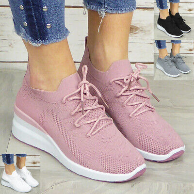 $ CDN23.85 • Buy Ladies Sock Trainers Shoes Womens Wedge Sneakers Lace Up Pumps Comfy Casual Size