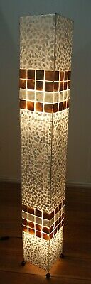 £95 • Buy White And Gold Floor Standing Lamp Handmade From Shell  In Bali - 147cm