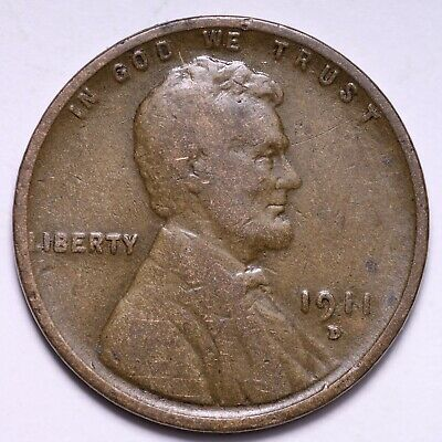 $ CDN2.73 • Buy VG 1911-D Lincoln Wheat Cent Penny FREE SHIPPING