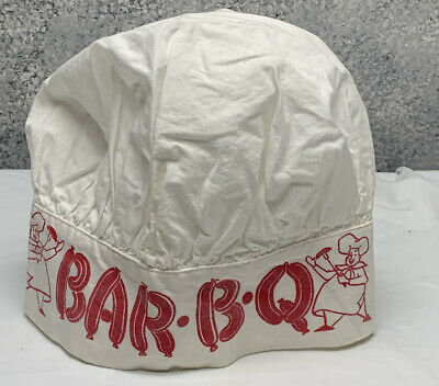 $ CDN30.22 • Buy Vintage BAR-B-Q Chef Hat White With Red ONE SIZE Cotton