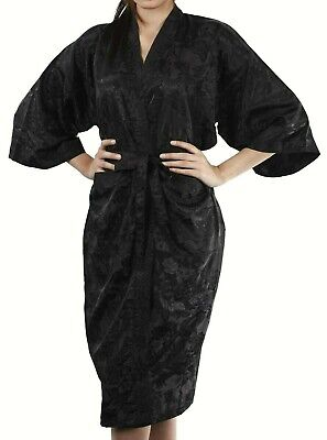 AU27.99 • Buy Womens Bathrobe Dressing Gown Textured Black Robe Rose Floral Night Pajamas Goth