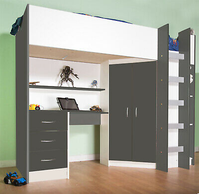 £399 • Buy Calder High Sleeper Cabin Bed Desk Wardrobe Grey/White 227GW