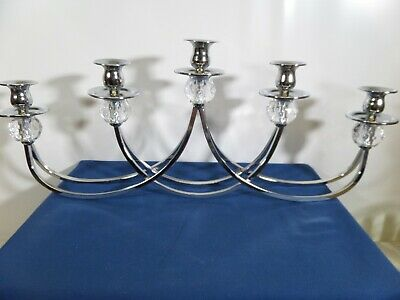 £9.99 • Buy Large Modern Chrome 5 Sconce Candle Holder Centrepiece Candleabra