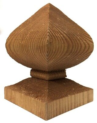 £8.25 • Buy Wooden Post Top Finial Bishops For 3  75mm Fence Post Cap Brown Treated