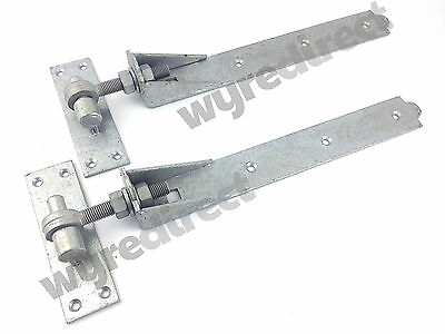 £19.95 • Buy Adjustable Gate Hinges Pair 400mm 16  Galvanised Heavy Duty Hook And Band Stable