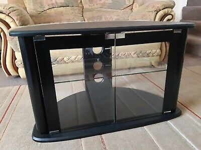 £25 • Buy Tv Cabinet. Black With Glass Shelf And Doors