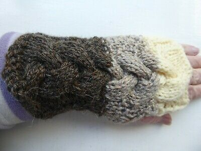 £3 • Buy Ladies Hand Knitted Cable Fingerless Gloves In Earth, Cream & Wheat