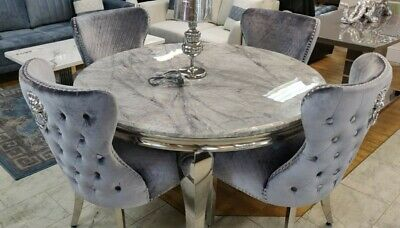 £999 • Buy GREY 130CM Marble Dining Table+ 4 LION Knocker Chair Crome Legs Heavy Stone Marb