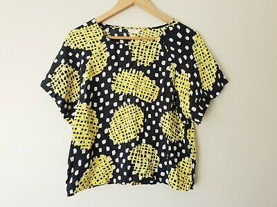 AU36.50 • Buy GORMAN 100% Silk Short Sleeve Top Blouse Black Yellow SIZE SMALL 8 10