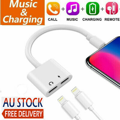 AU6.85 • Buy Dual IPhone Adapter Audio Headphone Charger Splitter For IPhone 7 8 Plus X XS
