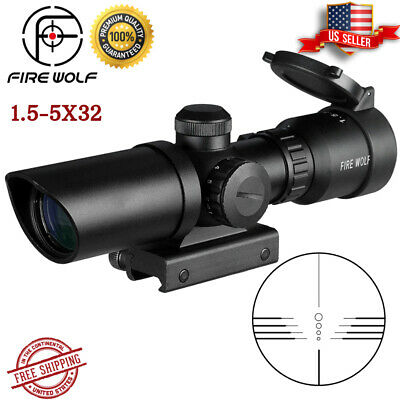 $71.50 • Buy 1.5-5X32 Scope Rifle Tactical Hunting .223 Angle Wide Military Sight Mounting ✅✅