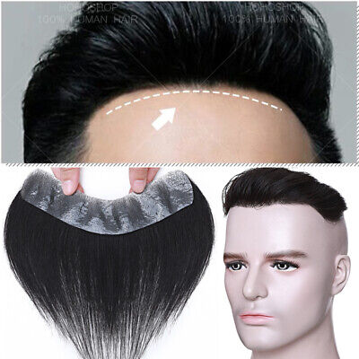 £67.90 • Buy Forehead V Hairline Men Toupee Remy Human Hair Hairpiece Thin Skin PU Wigs Black