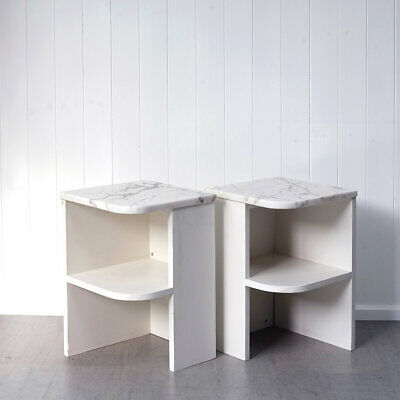 £325 • Buy Pair Of Vintage Modernist Bedside Tables W/ Marble Tops - Mid Century Style