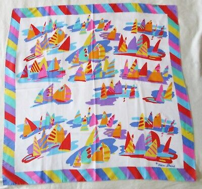 £24.84 • Buy Vintage Ken Done Sailboats Polyester Scarf 24  X 24