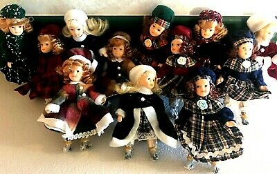 $ CDN18.15 • Buy Lot Of 12 6  Porcelain Winter Holiday Figurine Dolls Ornament Girls Room Decor