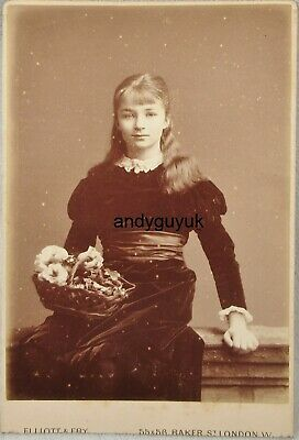 £3.95 • Buy Cabinet Card Girl Long Hair Named Theresa Waterhouse Antique Fashion Photo