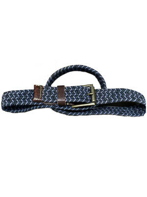 $12.99 • Buy Fossil Belt Mens Woven Size 38 Blue Cotton With Leather Trim