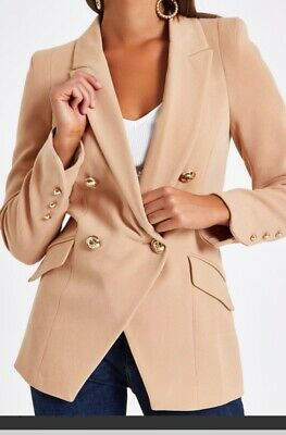£25 • Buy Bnwt River Island  Camel Double Breasted  Blazer With Removable Fur Collar 8-10