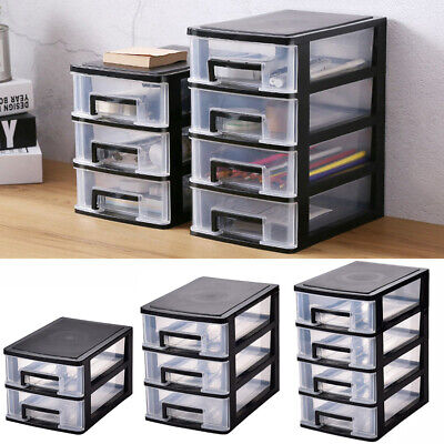 £13.95 • Buy Plastic 2/3/4 Drawers Desk Stationery Organizer Card Pen Holder Storage Box Case