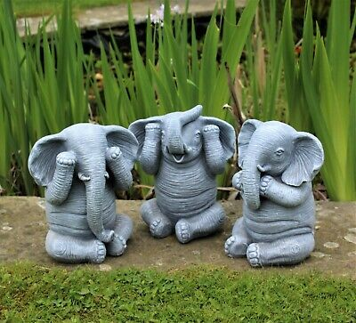 £21.95 • Buy 3 Wise Elephants Garden Ornaments Decorative Outdoor Hear, See And Speak No Evil