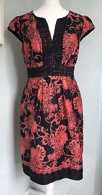 £22.99 • Buy MONSOON Black Coral Floral Lace Trim Midi Dress UK 16 Pockets Occasion Party