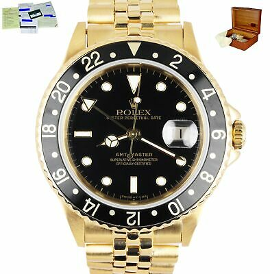 $ CDN33738.84 • Buy RARE Vintage Rolex GMT Master 16758 18K Yellow Gold Jubilee Black 40mm Watch