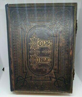 £249 • Buy Vintage Old Family Holy Bible Numerous And Illustrations By Rev.John Brown 1884